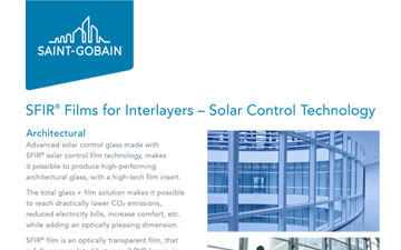 SFIR®  Films for Interlayers – Solar Control Technology